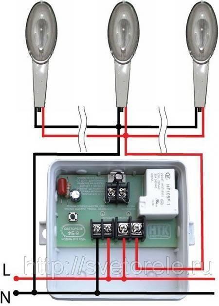 Выбор и схема подключения фотореле для уличного освещения