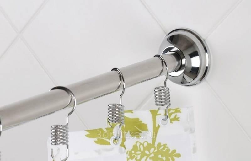 Карниз для шторы в ванной комнате: гибкая штанга, телескопическая палка, держатель для шторки асимметричной ванны