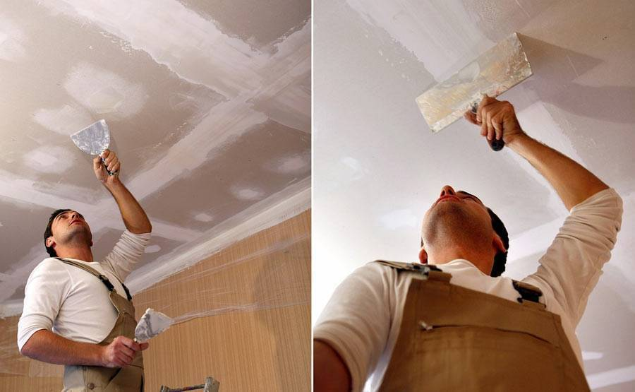 Как выровнять потолок шпаклевкой из гипсокартона если он покрашен