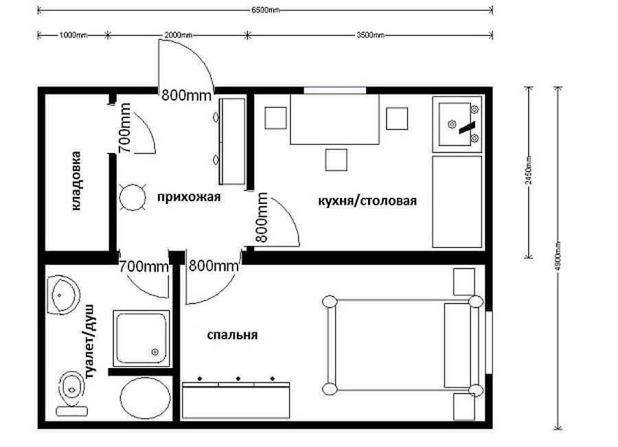 Дачные бытовки из двух комнат с туалетом и душем