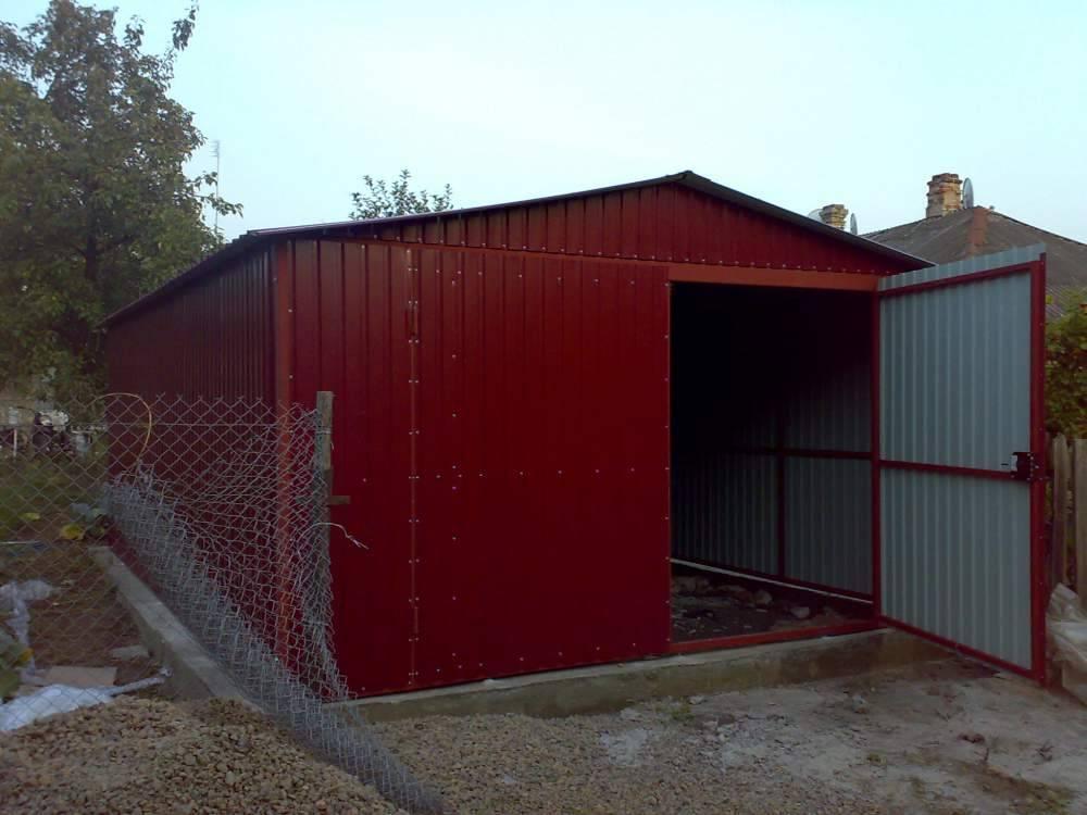 Постройка гаража из профнастила своими руками