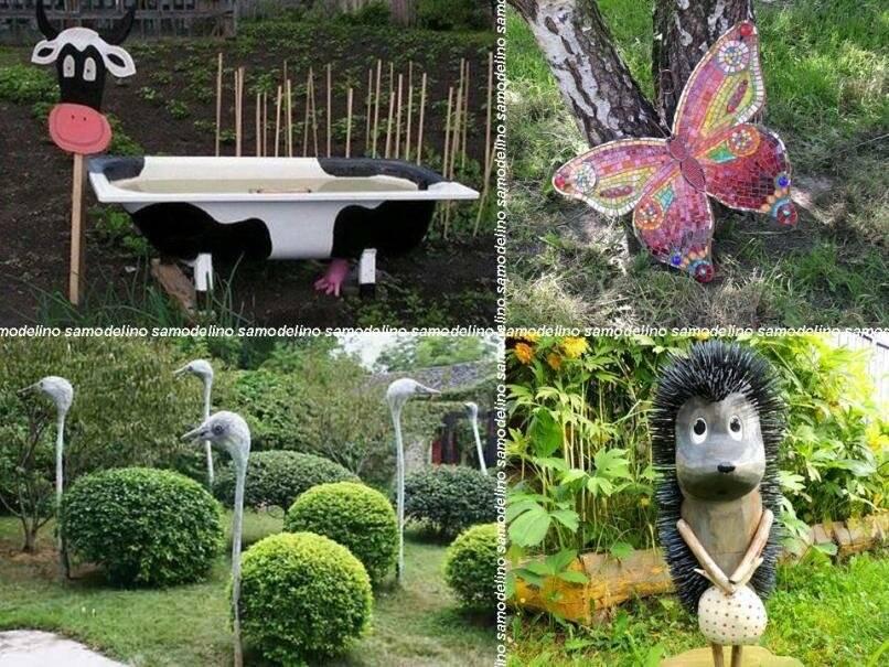 Поделки для сада своими руками - все новинки - из шин, из бутылок, из дерева - видео уроки