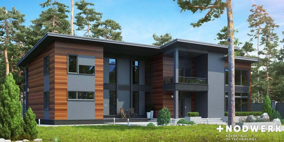 Деревянный дом из бруса в стиле Хай-тек