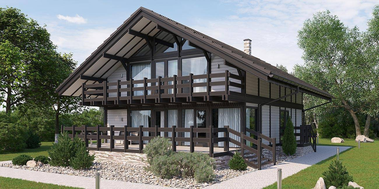 Каркасный дом шале, проектирование и строительство.