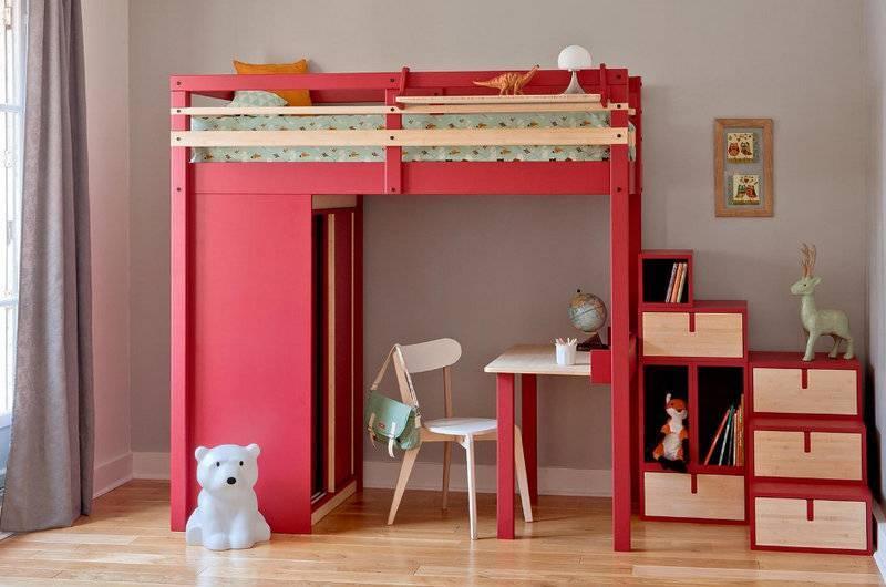 Кровать-чердак с рабочей зоной, какая будет удобной для ребенка-школьника