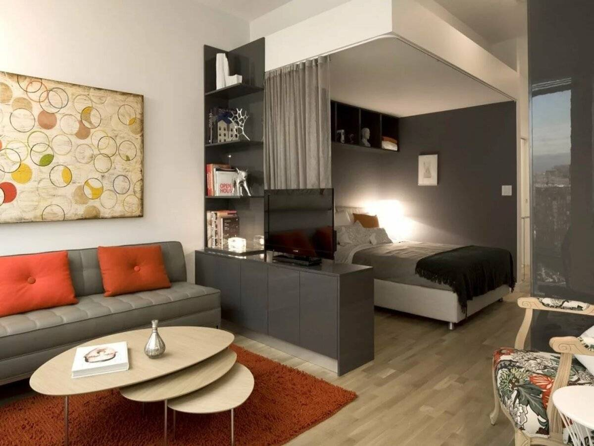 Оформление дизайна маленьких студий с мебелью и без