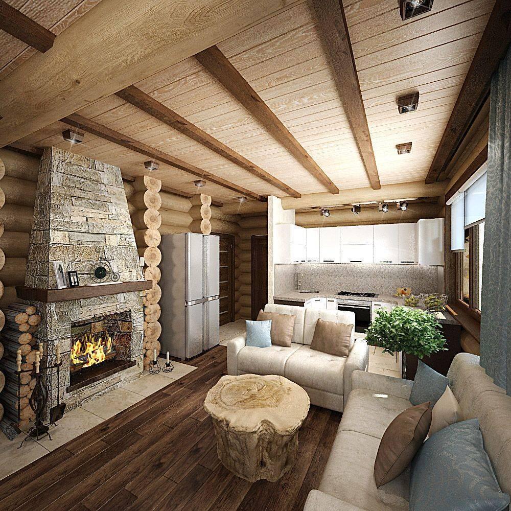 Фото интерьеров домов из бревна