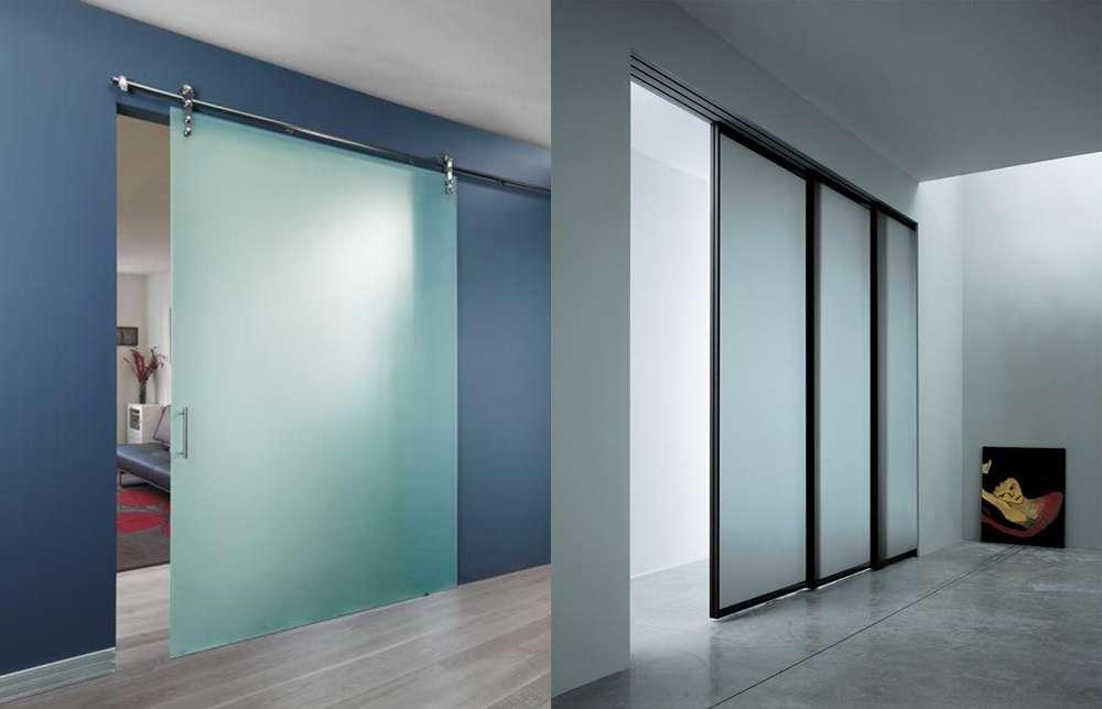 Стеклянные межкомнатные двери: раздвижные, распашные, матовые (50 фото разных моделей)