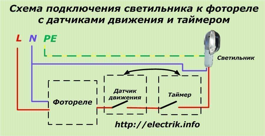 Схема подключения уличного освещения через пускатель и фотореле