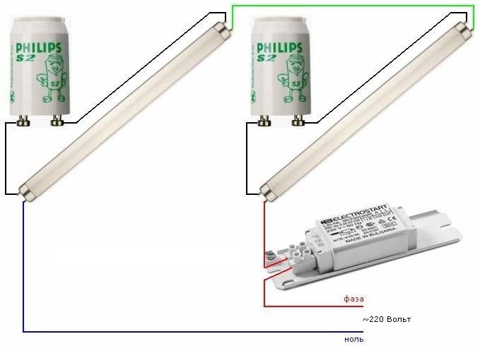 Схемы подключения люминесцентных ламп без дросселя