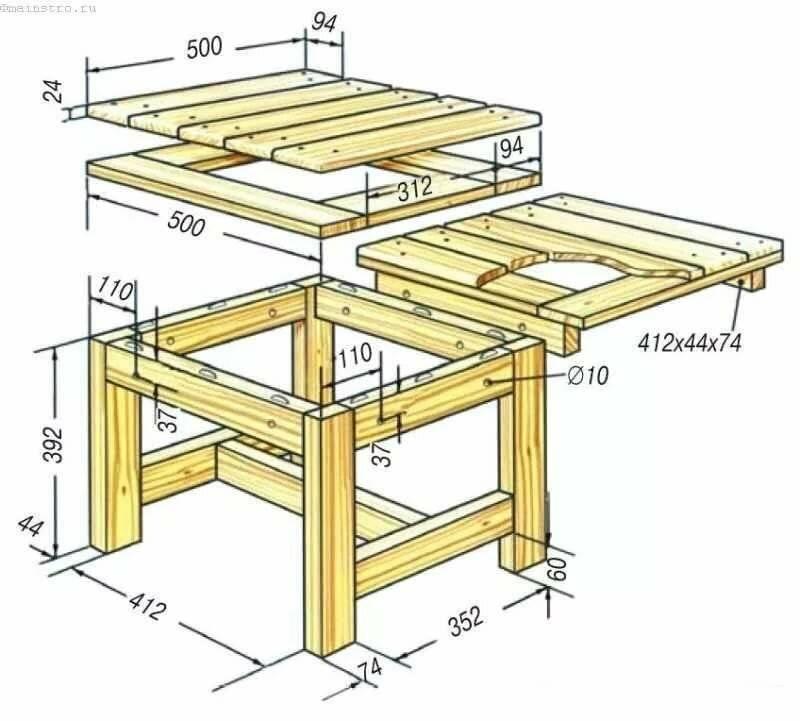 Садовая мебель из дерева своими руками: чертежи, поэтапное выполнение