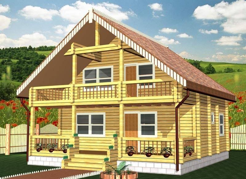 Проекты домов из бруса с мансардой и их строительство
