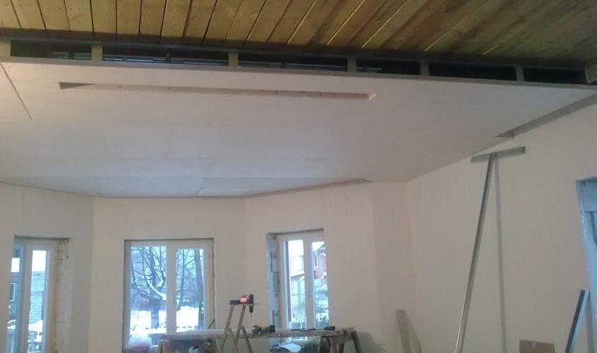 Крепление гипсокартона на деревянные перекрытия на потолок