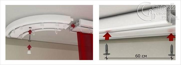 Как прикрепить карниз к потолку