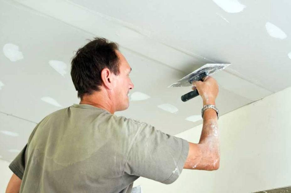Шпаклевка потолка из гипсокартона под покраску - этапы работ своими руками, материалы