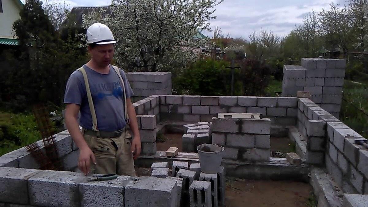 Фундамент для дома из шлакоблоков своими руками строительство домов и конструкций из пеноблоков