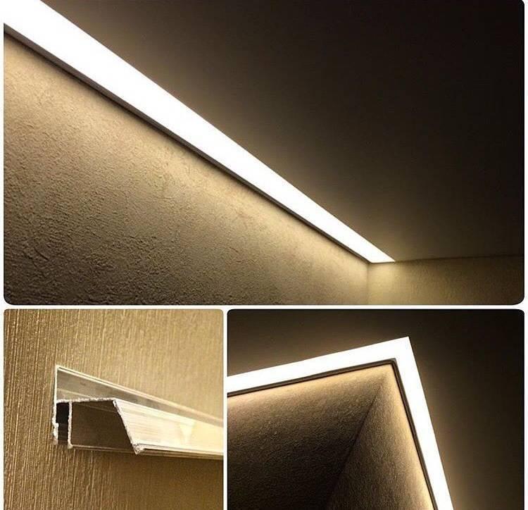 Парящие линии для натяжных потолков: профили и их цена, фото с подсветкой изнутри и работы