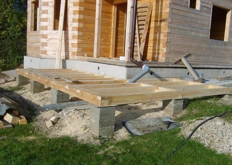 Фундамент для веранды к дому: строим своими руками