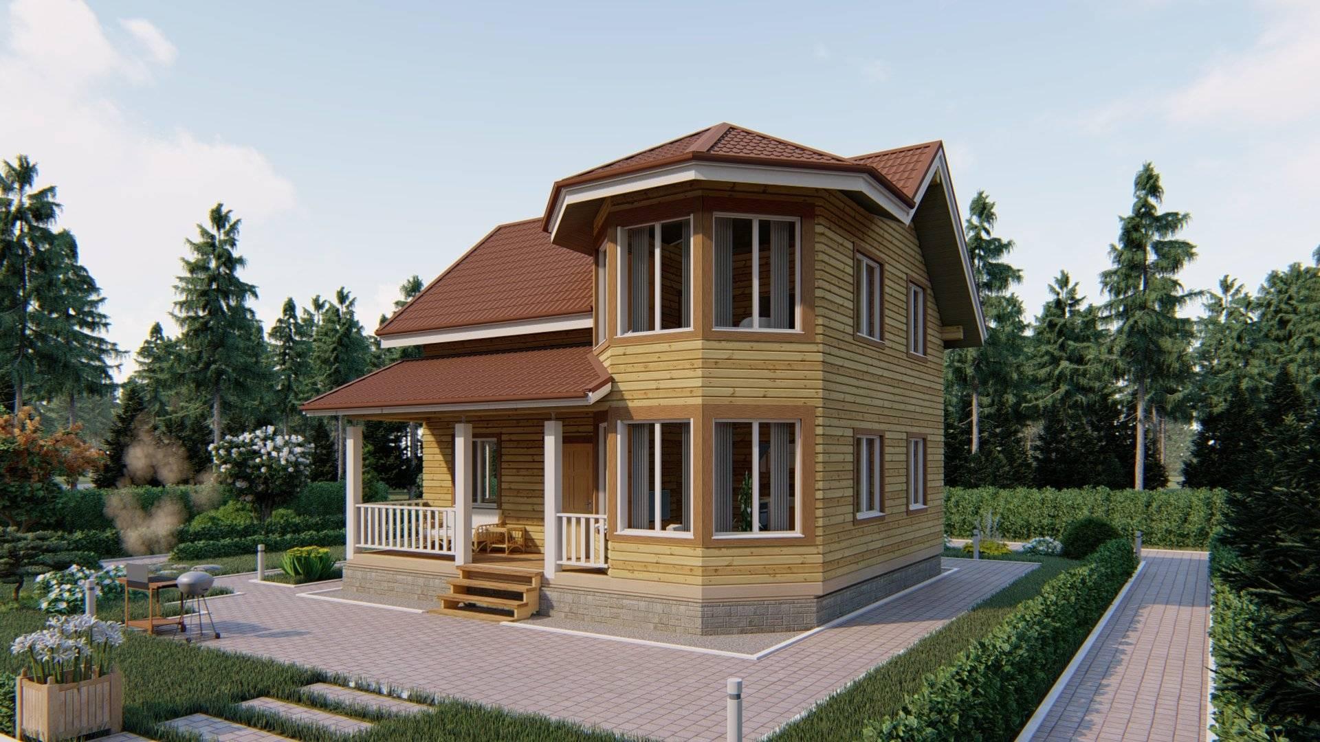 Брусовые дома с эркером и виды проектов с фото