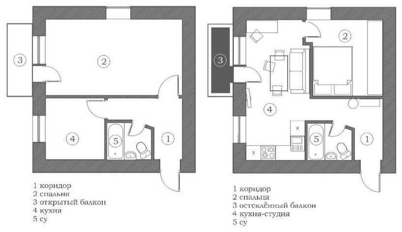 4 варианта перепланировки 2-х комнатной хрущевки | фото