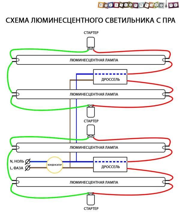 Схема включения люминесцентной лампы – обзор вариантов