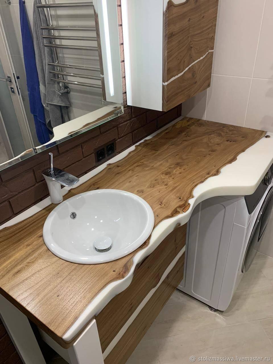 Деревянная столешница под раковину в ванную своими руками