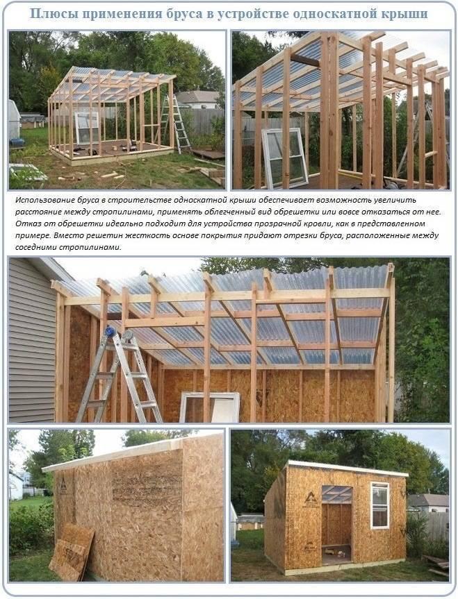 Как строится односкатная крыша своими руками — пошаговый монтаж и выбор кровельного материала
