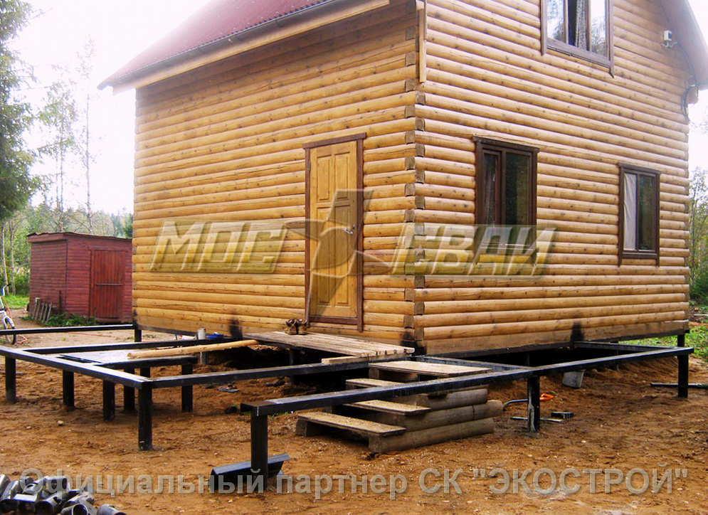 Дом из бруса на винтовых сваях | к-дом