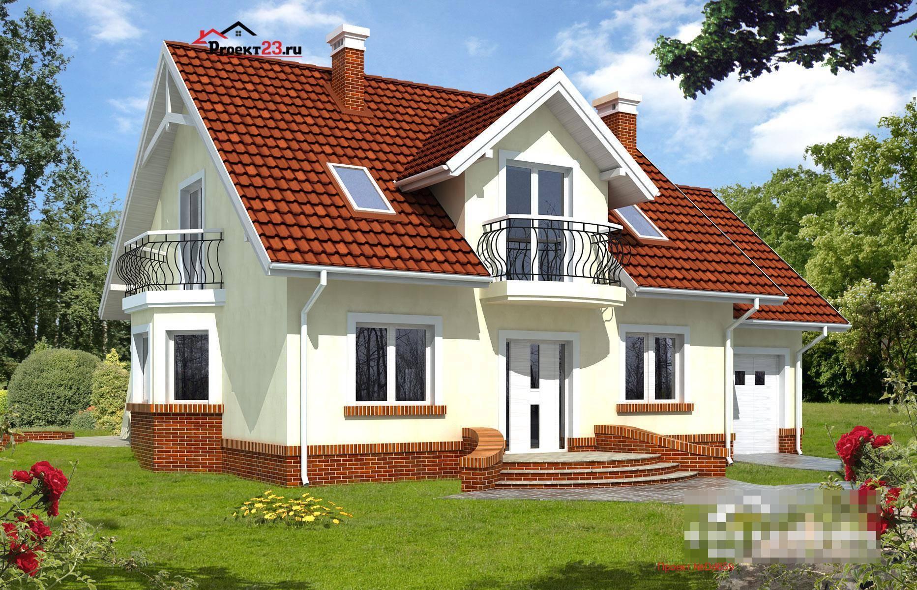 Проекты домов с эркером и мансардой, гаражом, фото