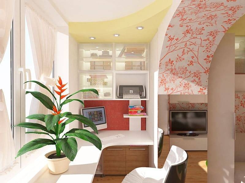 Оформление дизайна кухни совмещенной с балконом