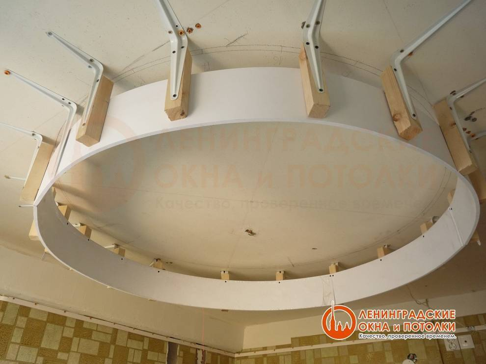 Двухуровневые натяжные потолки с подсветкой - в зал, по периметру