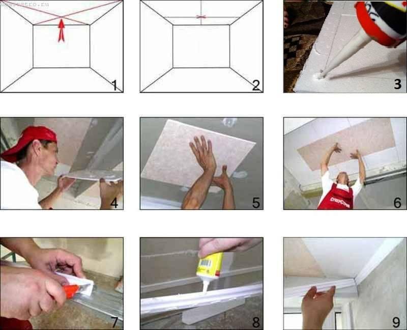 Как обновить потолочную пенопластовую плитку