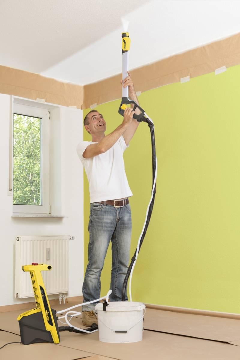 Покраска потолка краскопультом водоэмульсионной краской и стен: цена компрессора и видео