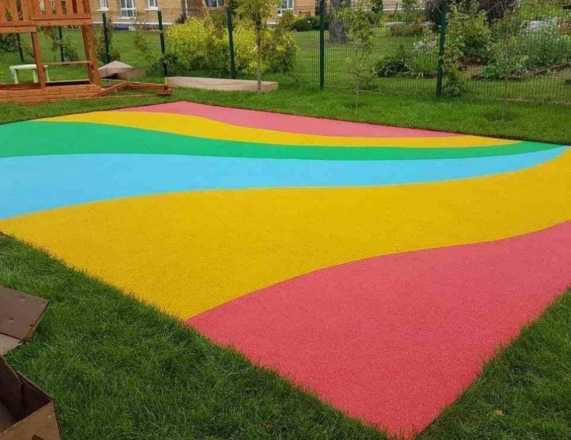 Покрытие из резиновой крошки для двора, дорожек, детской площадки