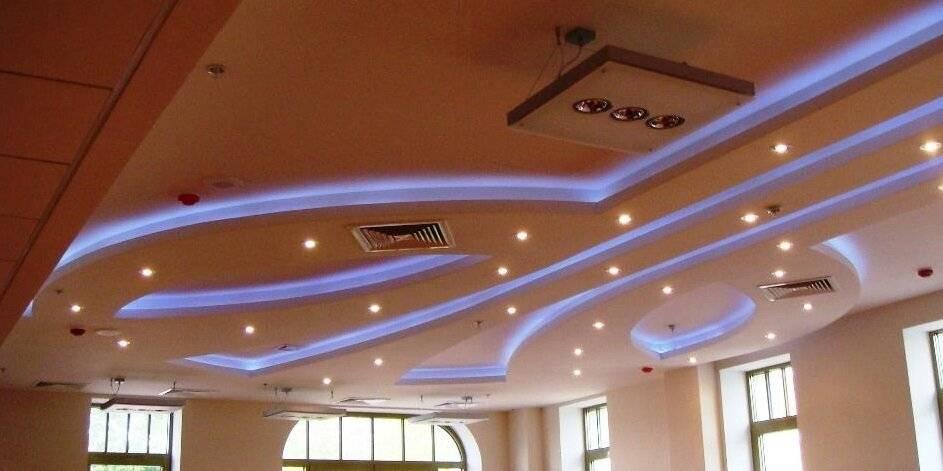 Как сделать потолок двухуровневый из гипсокартона с подсветкой