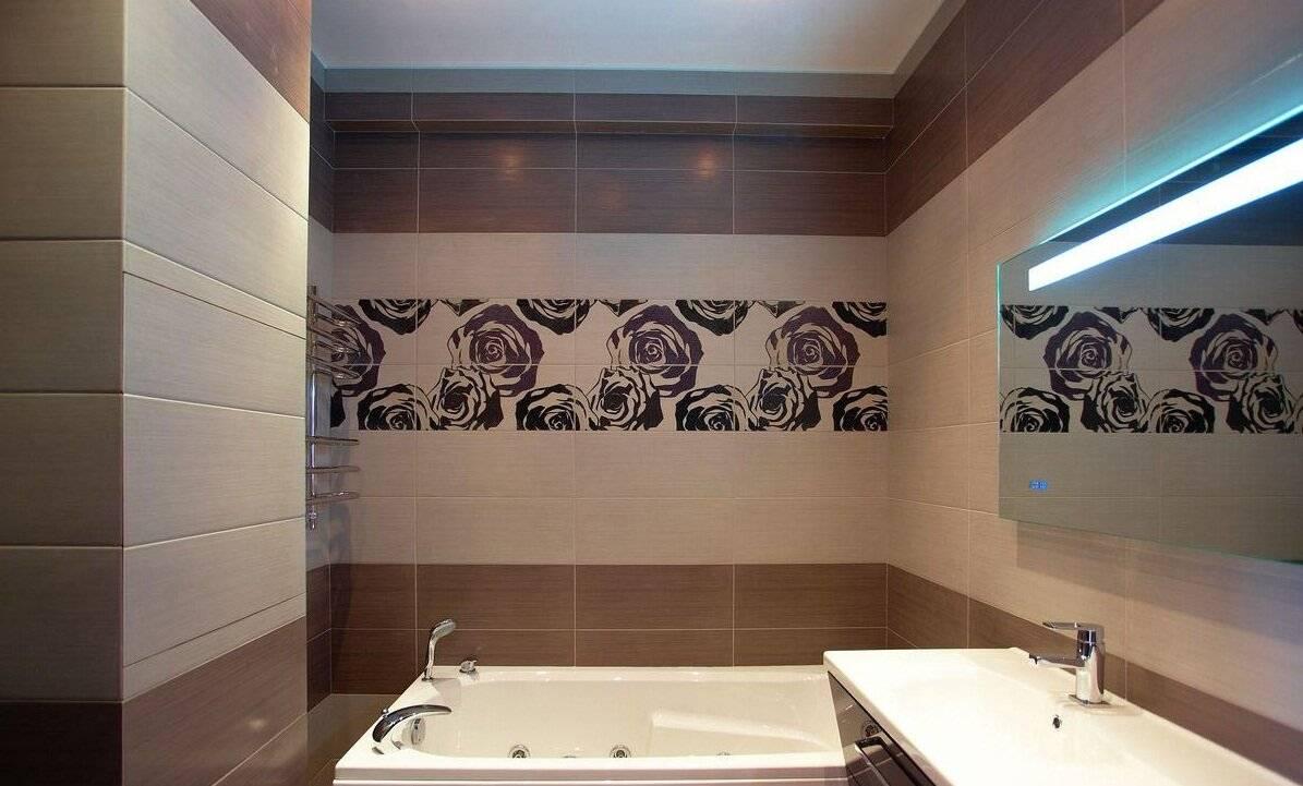 Раскладка плитки ванной комнаты в разных вариантах, фото