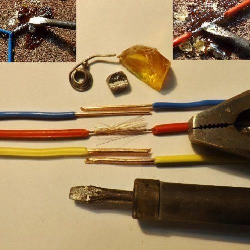 Пайка медных проводов электрическим паяльником оловянно-свинцовым припоем и канифолью