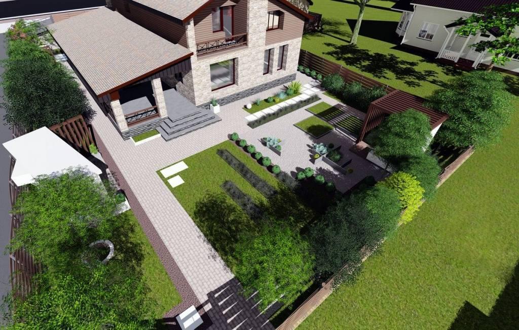 Обустройство двора частного дома: благоустройство территории своими руками, клумбы и растения