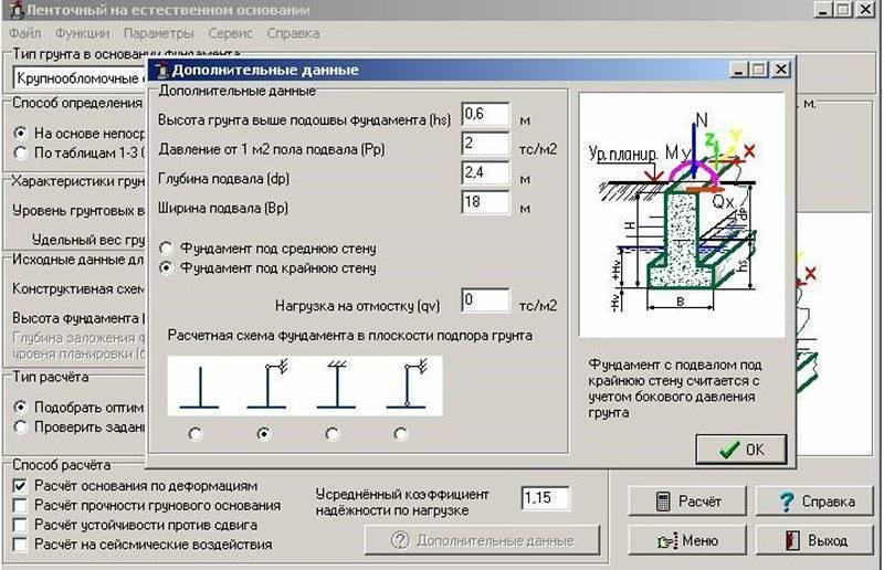 Расчет параметров и материалов для ленточного фундамента