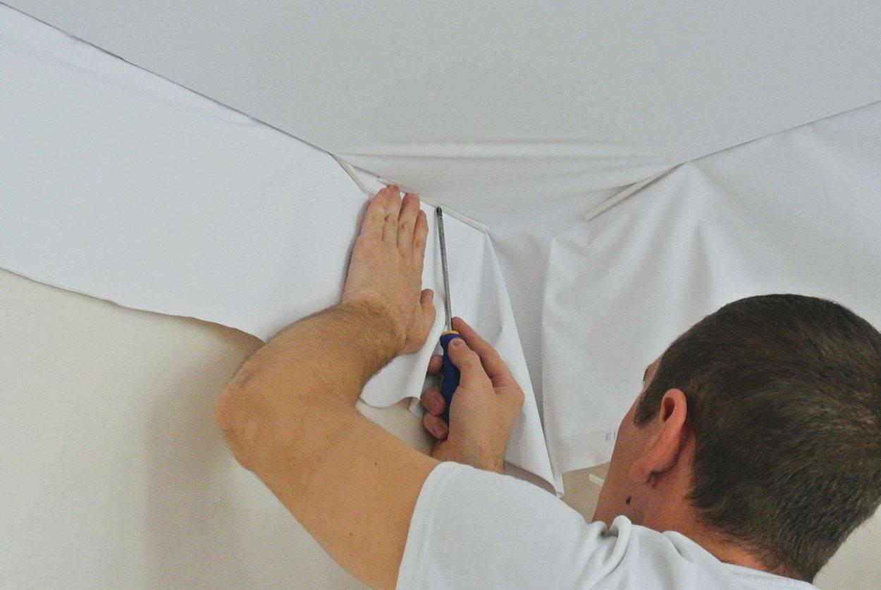 Натяжные потолки без нагрева своими руками: как самому сделать, натянуть, установка, монтаж