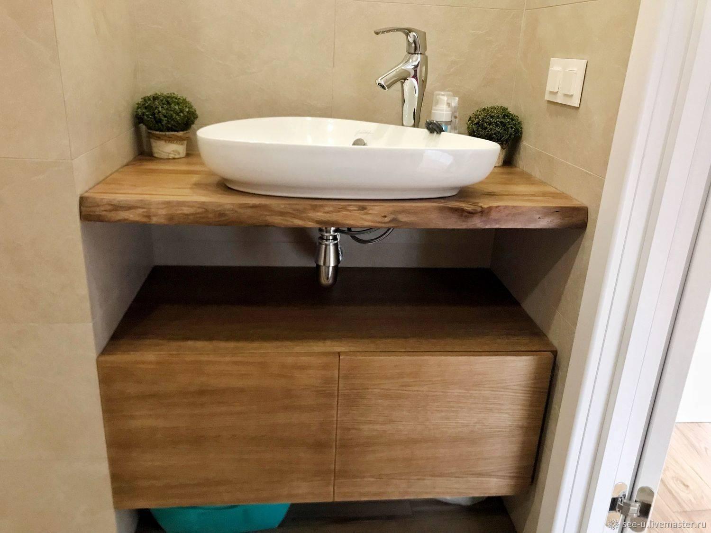 Столешница для ванной комнаты под раковину: как выбрать, виды, дизайн (+фото)