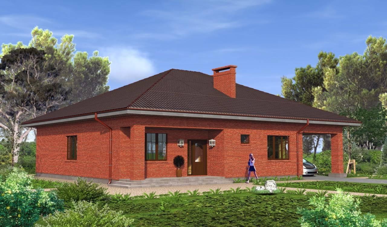 Проекты одноэтажных домов из красного кирпича: фото