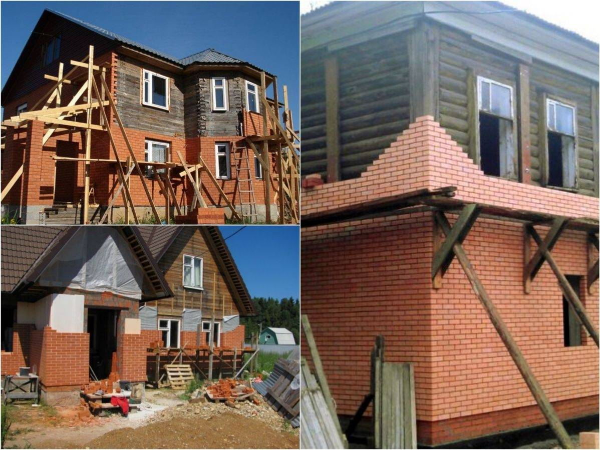 Правильная облицовка деревянного дома кирпичом