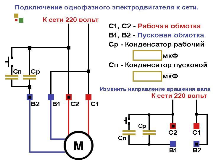 Схема подключения трехфазного электродвигателя   у электрика.ру