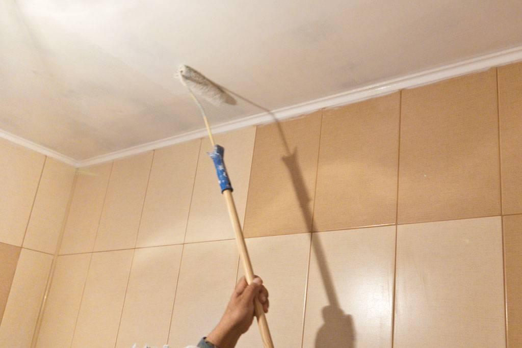Чем и как покрасить потолок в ванной комнате своими руками