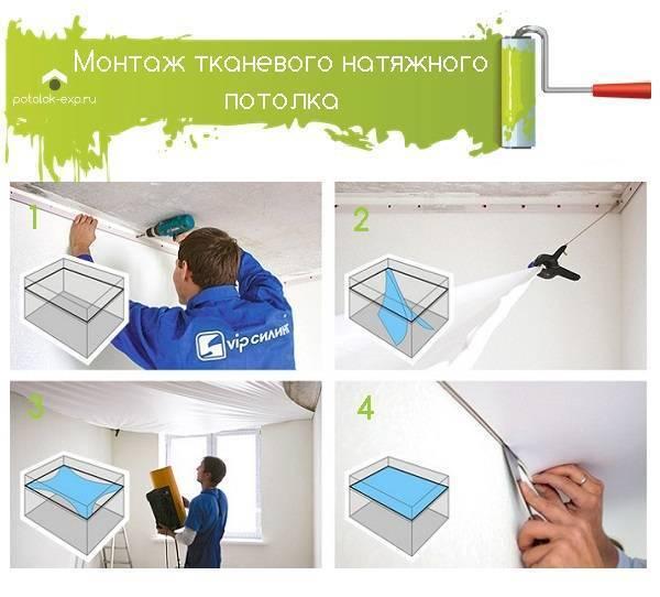 Инструкция по монтажу натяжных потолков: материалы и инструменты, подготовительные работы, установка потолков из пвх пленки и ткани