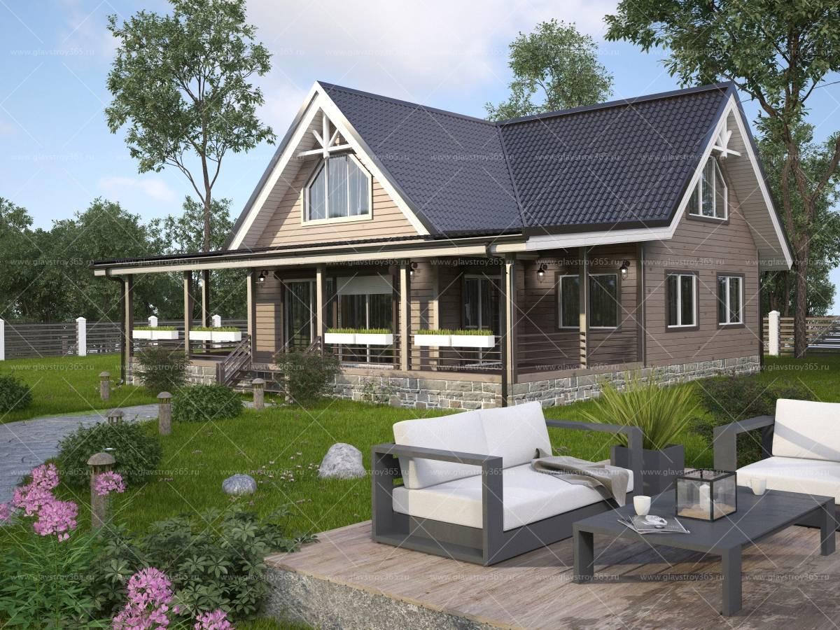 Проекты дачных домов с мансардой и верандой 6х6, 6х8, 5х7 и других размеров