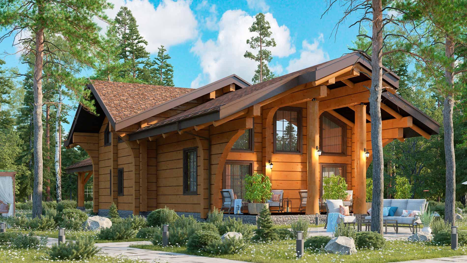 ????проекты домов из лафета: преимущества и особенности, варианты проектов коттеджей из лафета, цены - блог о строительстве