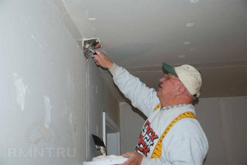 Как шпаклевать двухуровневый потолок из гипсокартона под покраску видео
