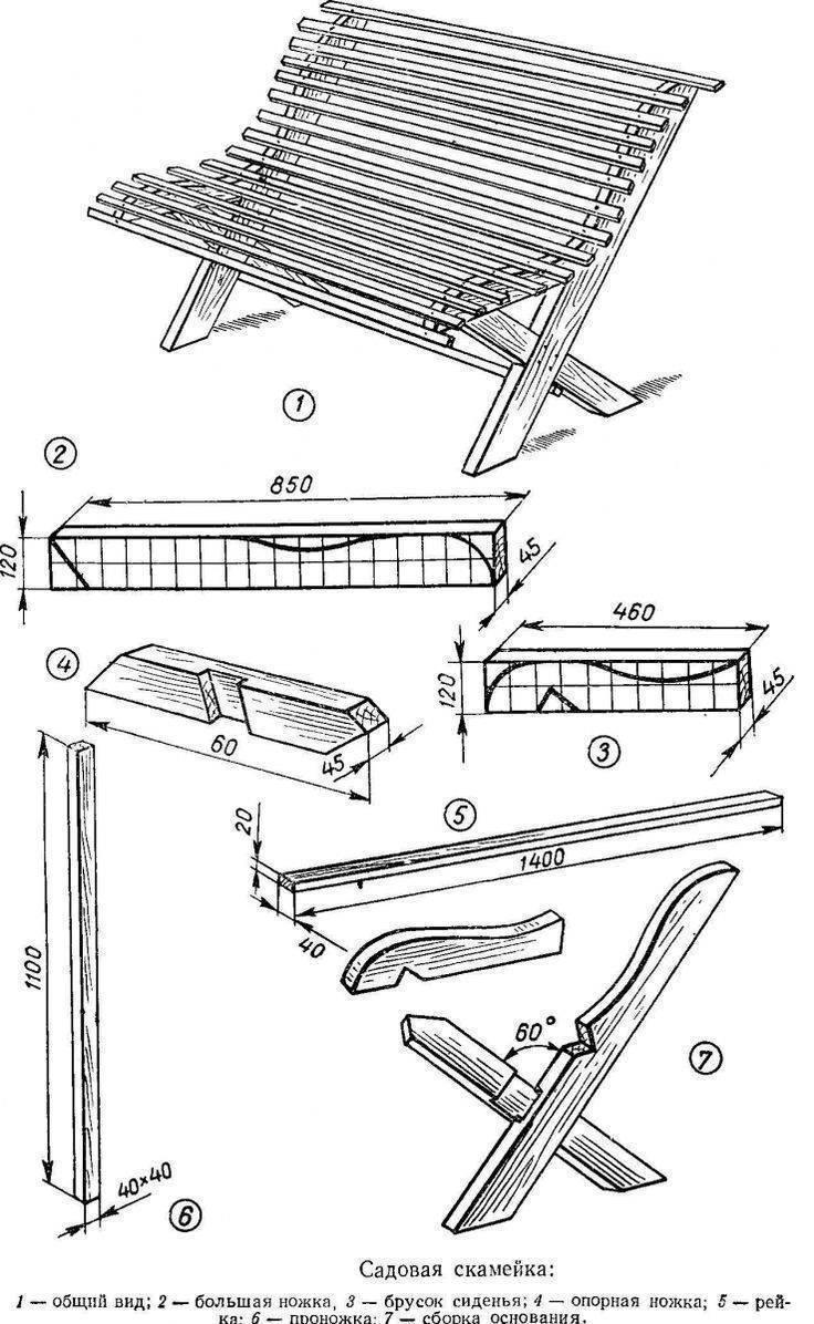 Скамейка для дачи своими руками: чертежи, схемы, проекты для начинающих